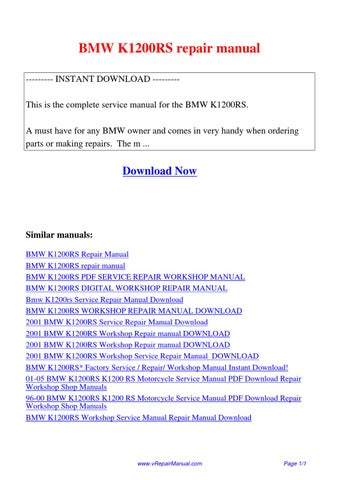 bmw k1200rs owners manual pdf