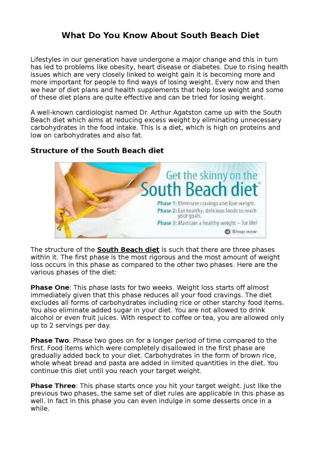 south beach diet tea in phase 1?