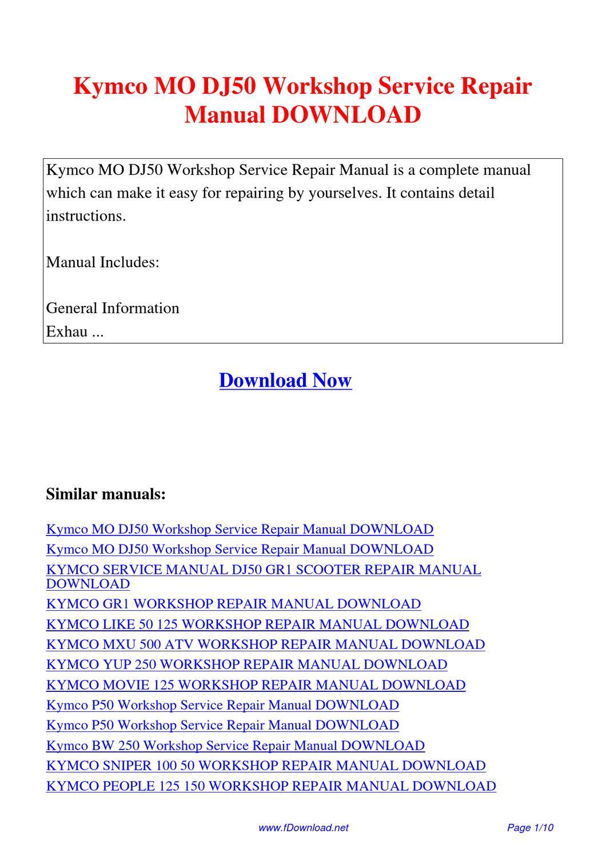 kymco mo dj50 workshop service repair manual by gipusi. Black Bedroom Furniture Sets. Home Design Ideas