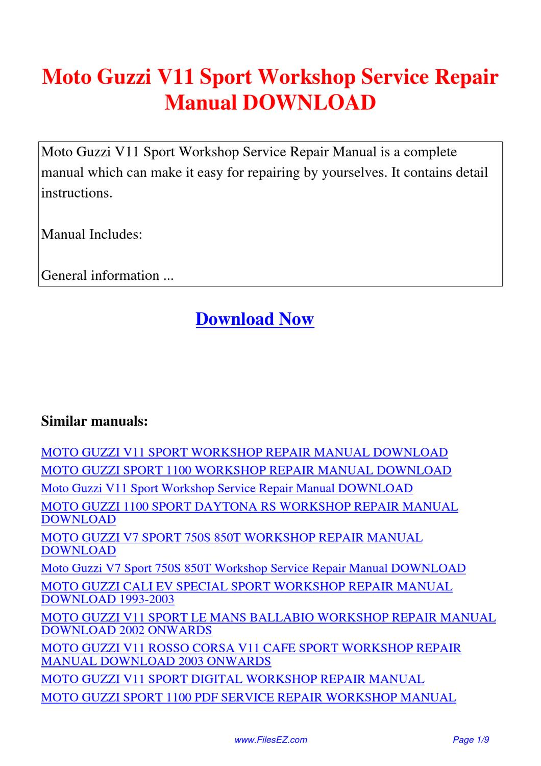 Moto Guzzi V11 Sport Workshop Service Repair Manual By