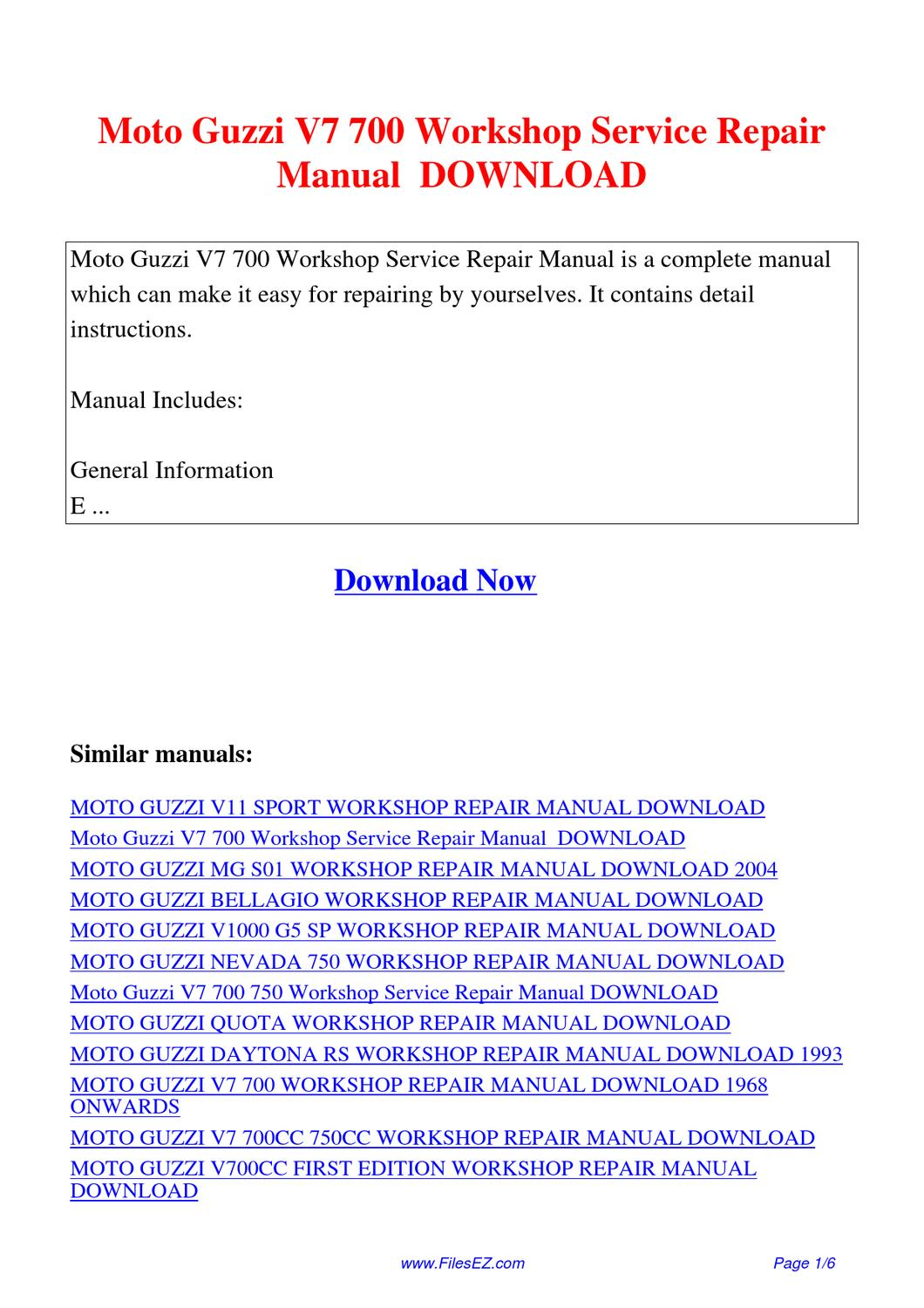 Moto Guzzi V7 700 Workshop Service Repair Manual By Yang