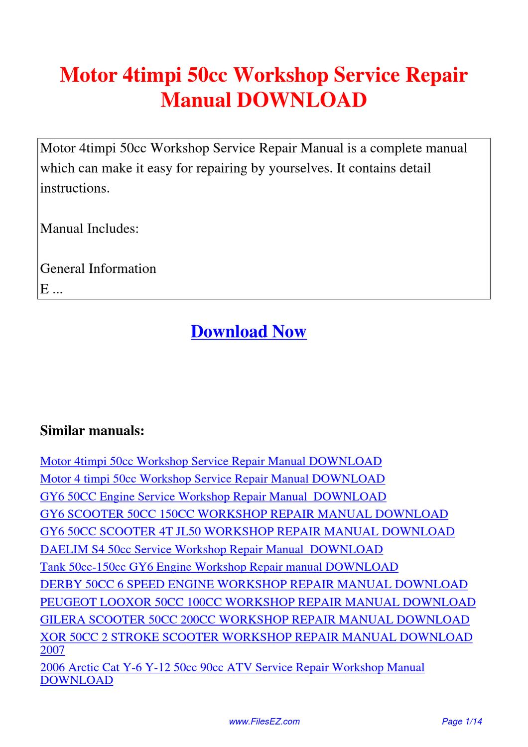 Motor 4timpi 50cc Workshop Service Repair Manual By Yang