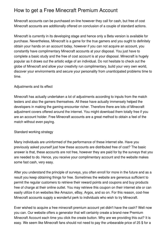How To Get A Free Minecraft Premium Account By Martin Christensen Issuu