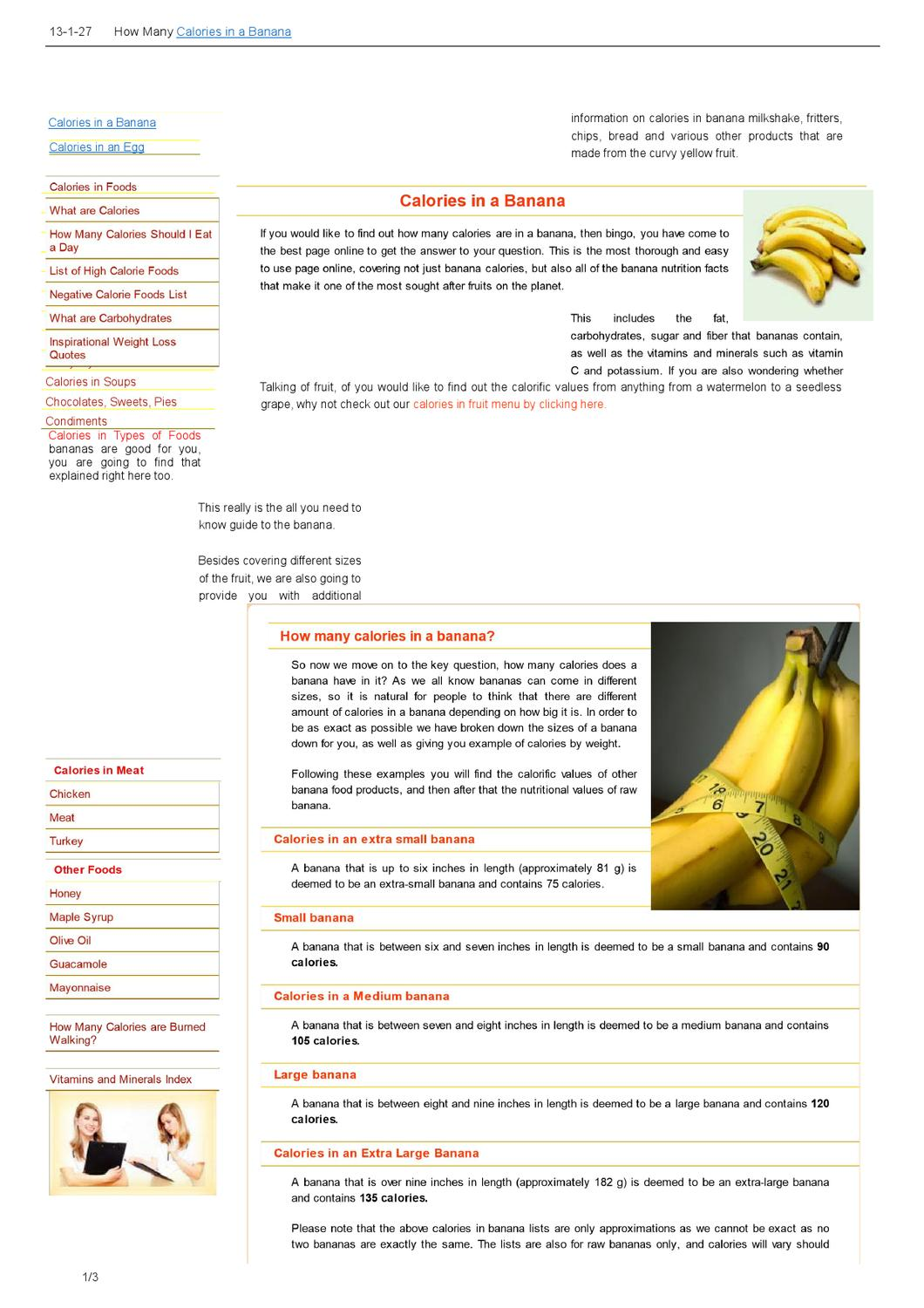 how many calories in a banana.doc by jessica ramsey - issuu