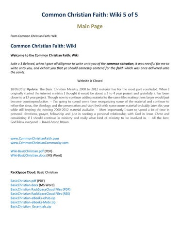 Common Christian Faith: Wiki 5 of 5 Main Page From Common Christian Faith:  Wiki