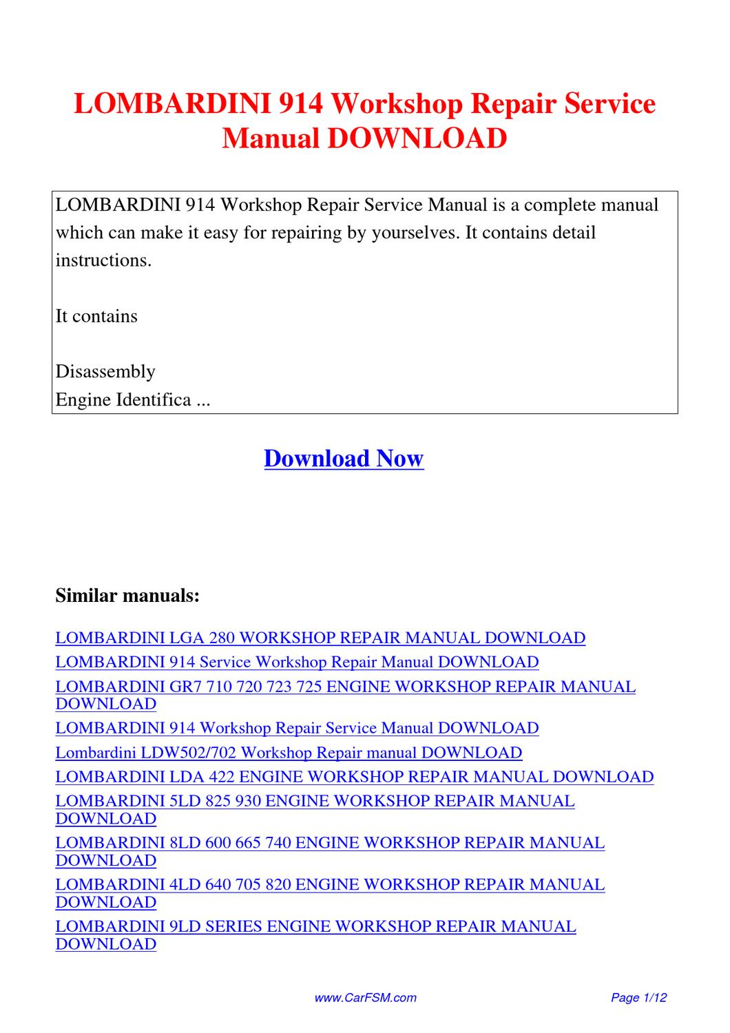 Lombardini 914 Workshop Repair Service Manual By Guang