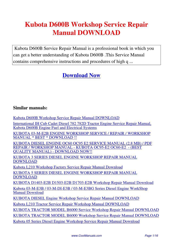 Kubota D650-B D750-B D850-B D950-B Diesel Engine Workshop Service Manual On CD