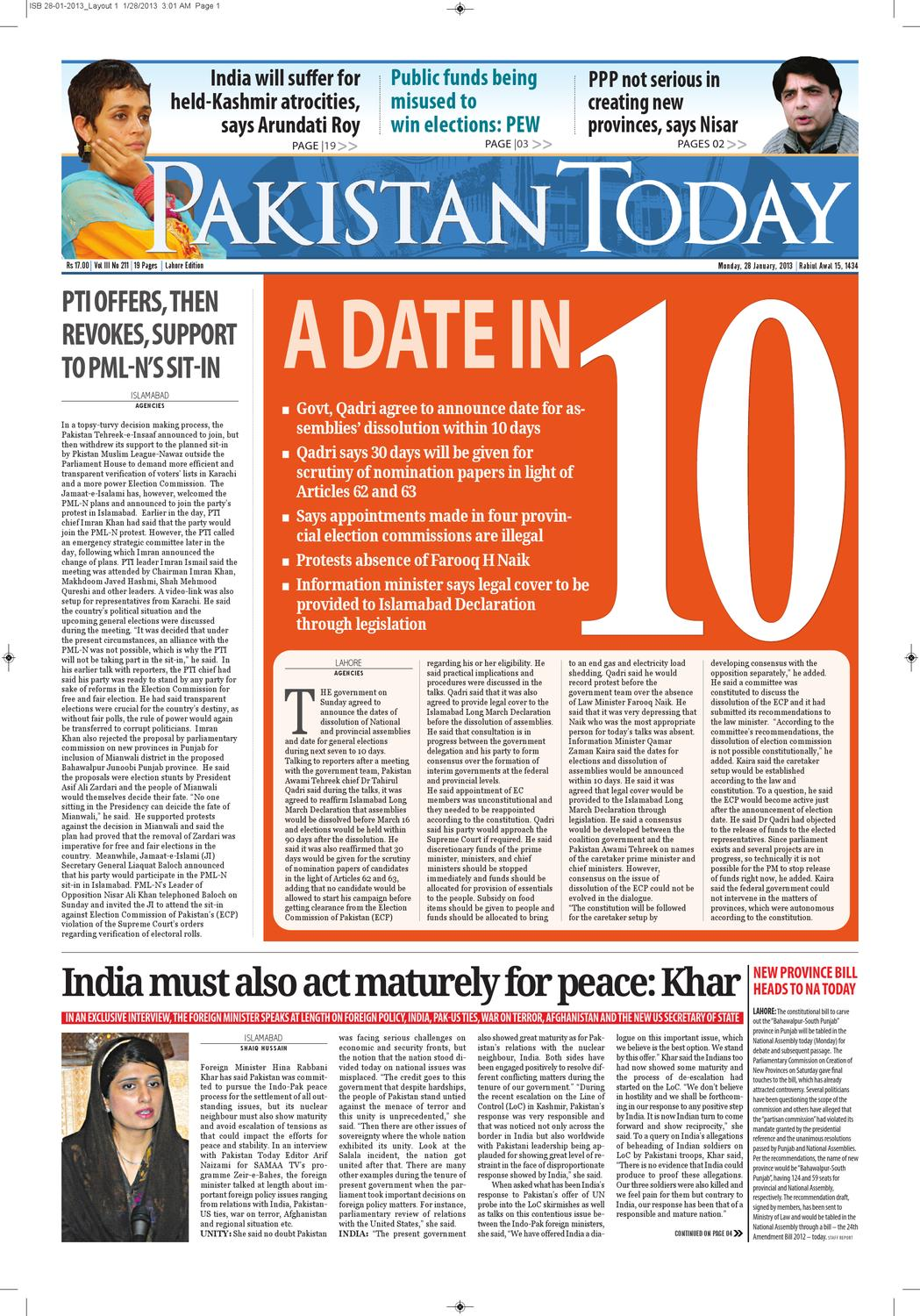 E-paper Pakistantoday 28th January, 2012 by Pakistan Today - issuu