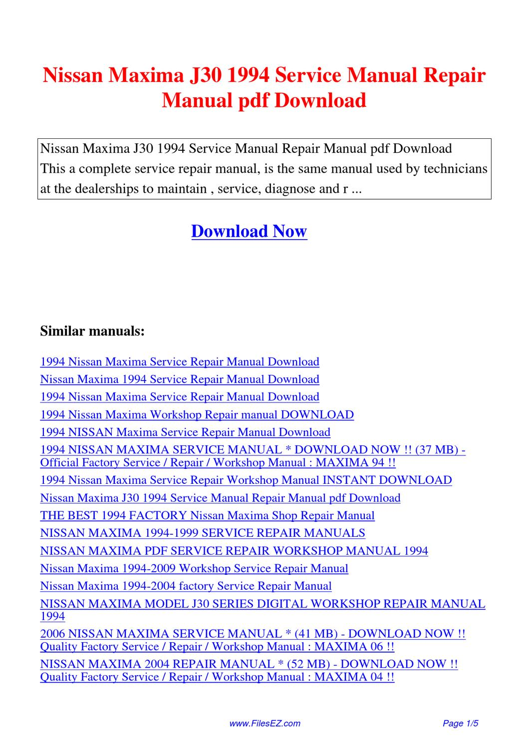 Nissan Owners Manual PDF Download