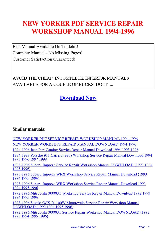 New Yorker Service Repair Workshop Manual 1994