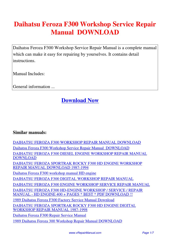 Daihatsu_Feroza_F300_Workshop_Service_Repair_Manual by Huang Luan - issuu