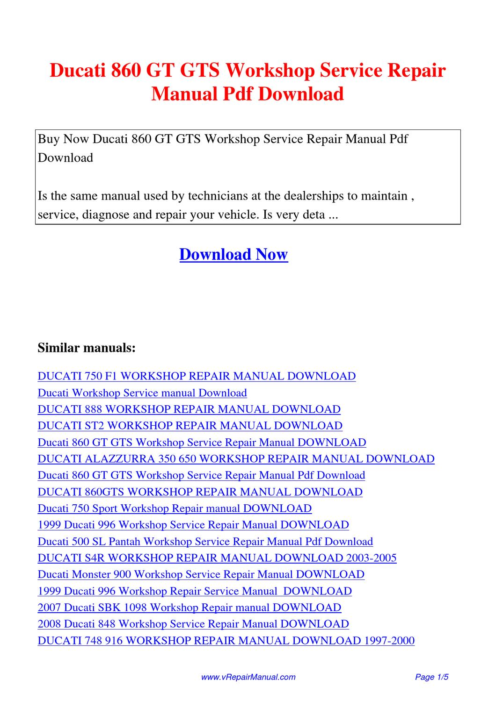 ducati 860 gt gts workshop service repair manual by huang. Black Bedroom Furniture Sets. Home Design Ideas