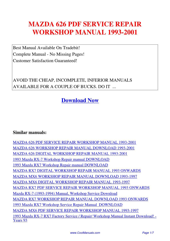 Mazda 626 Service Repair Workshop Manual 1993 2001 By Kai Kaik Issuu Rx 7 Wiring Schematic