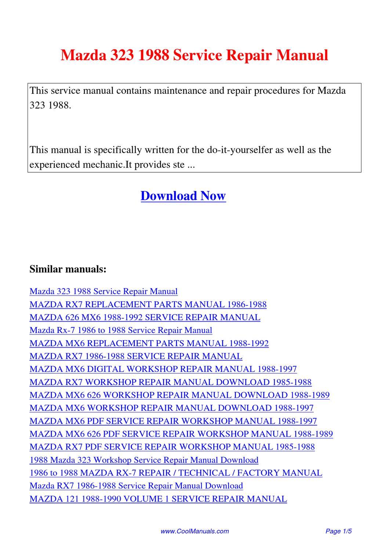 mazda 323 1988 service repair manual by kai kaik