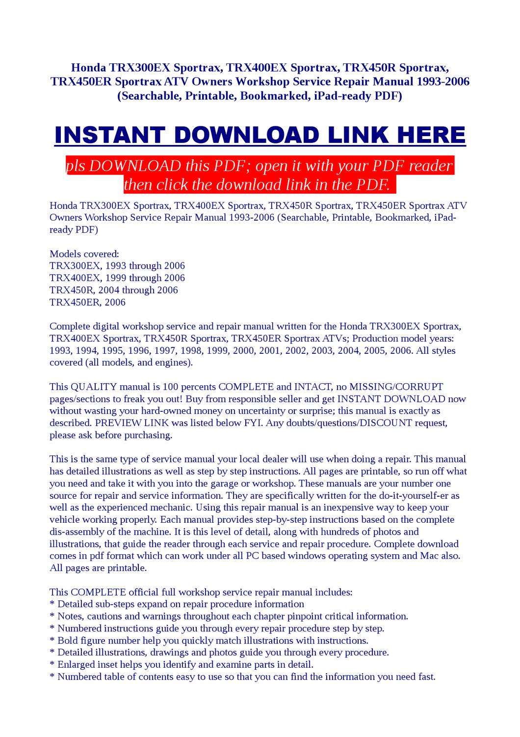 Honda TRX300EX SportraxWorkshop Service Repair Manual 1993-2006 by Sam  Wokie - issuu