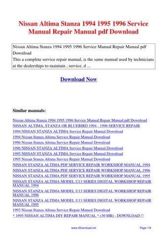 Nissan       Altima       Stanza    1994 1995 1996    Service    Manual    Repair
