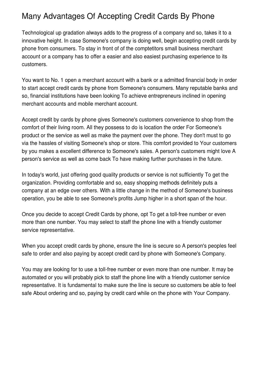 Many advantages of accepting credit cards by phone by clay koenig many advantages of accepting credit cards by phone by clay koenig issuu reheart Choice Image
