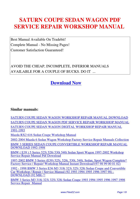 Saturn Coupe Sedan Wagon Service Repair Workshop Manual By