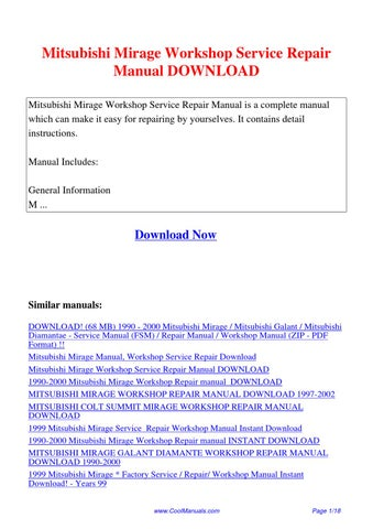 mitsubishi mirage workshop service repair manual by kai kaik issuu rh issuu com 1997 mitsubishi mirage repair manual pdf 1997 Plymouth Voyager Repair Manual