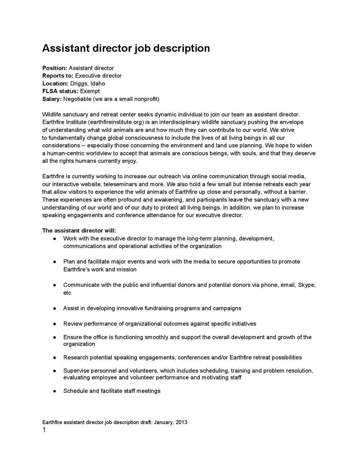 Assistant Director job description by Earthfire Institute issuu – Assistant Director Job Description