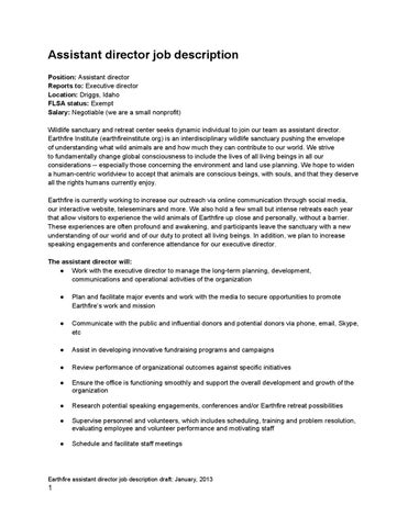 Assistant Director Job Description By Earthfire Institute  Issuu