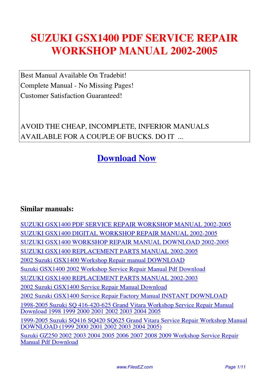 Suzuki Gsx1400 Service Repair Workshop Manual 2002