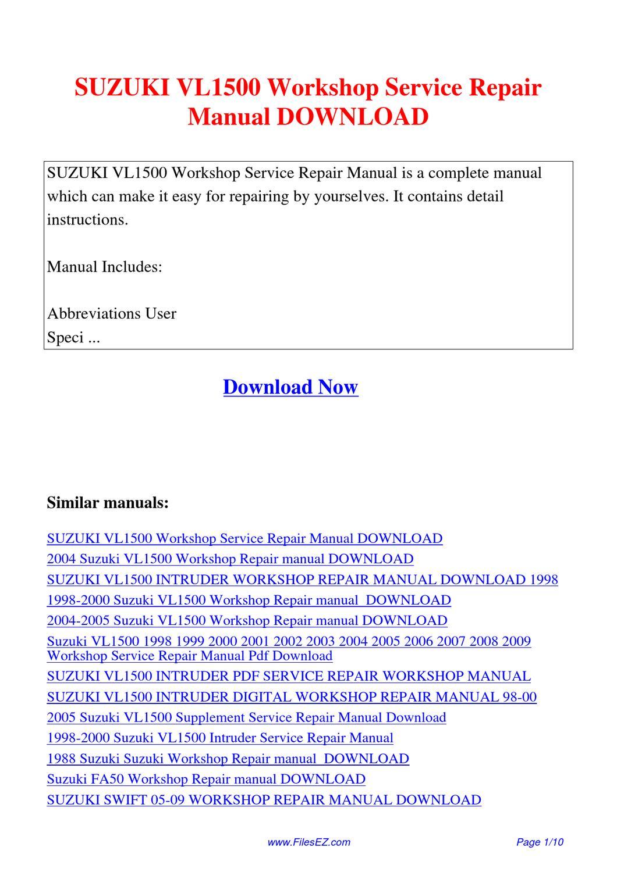 suzuki vl1500 workshop service repair manual by yang rong