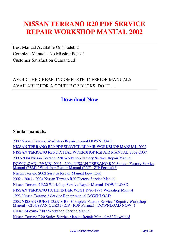 Nissan Terrano R20 Service Repair Workshop Manual 2002 By