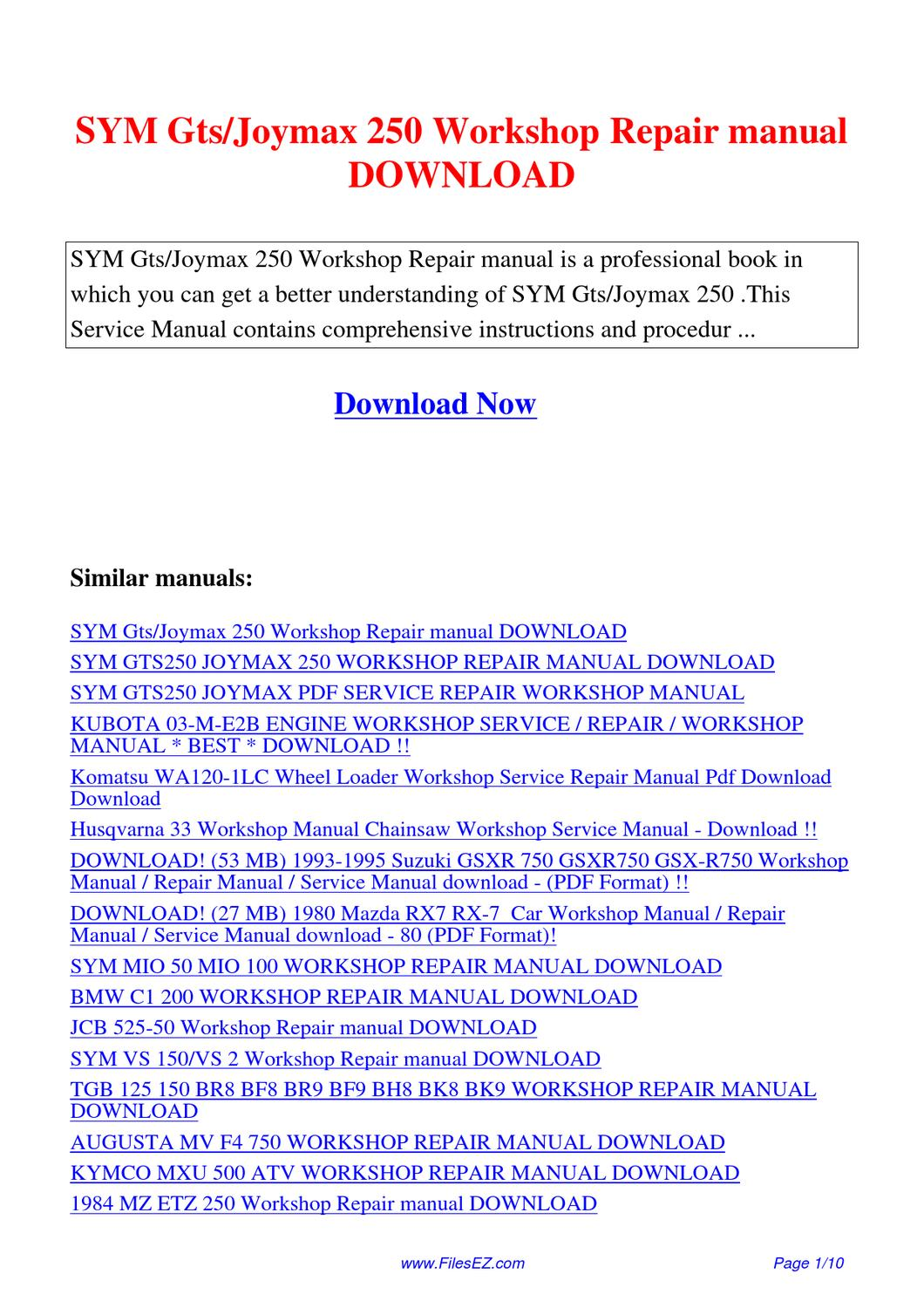 sym gts joymax 250 workshop repair manual by yang rong