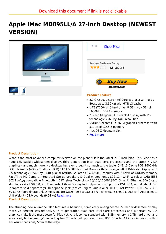 Apple iMac MD095LL A 27-Inch Desktop (NEWEST VERSION) by joseph