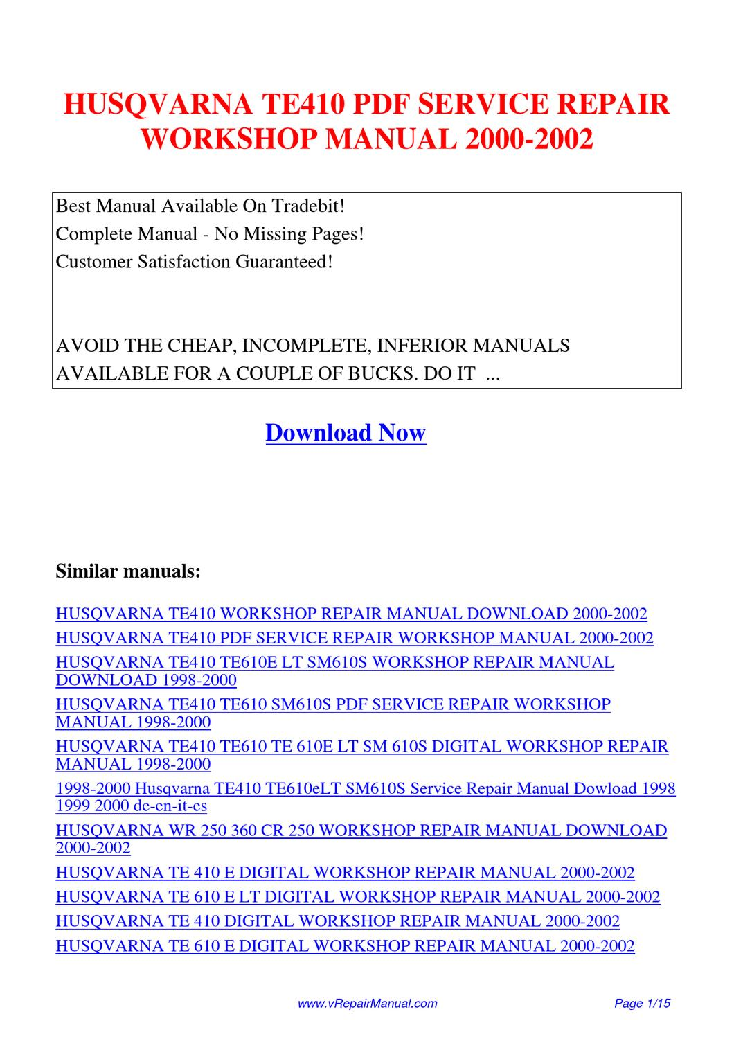 HUSQVARNA_TE410_SERVICE_REPAIR_WORKSHOP_MANUAL_2000-2002 by Huang Luan -  issuu
