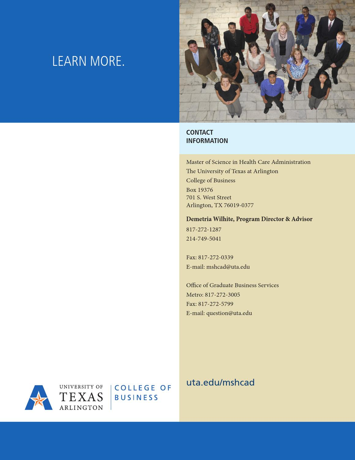 UT Arlington College of Business M.S. in Health Care ...