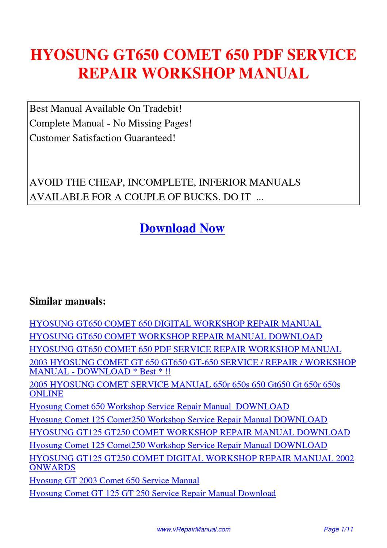 Hyosung Gt650 Comet 650 Service Repair Workshop Manual By