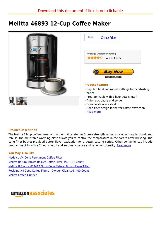 Melitta 46893 12 Cup Coffee Maker By Marcella Burke Issuu