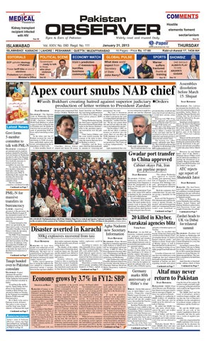 e-Paper 31 Jan , 2013 by Pakistan Observer - issuu