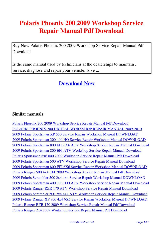 Polaris Phoenix 200 2009 Workshop Service Repair Manual By Gipusi Samu