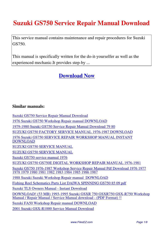 Suzuki Gs750 Service Repair Manual By Yang Rong