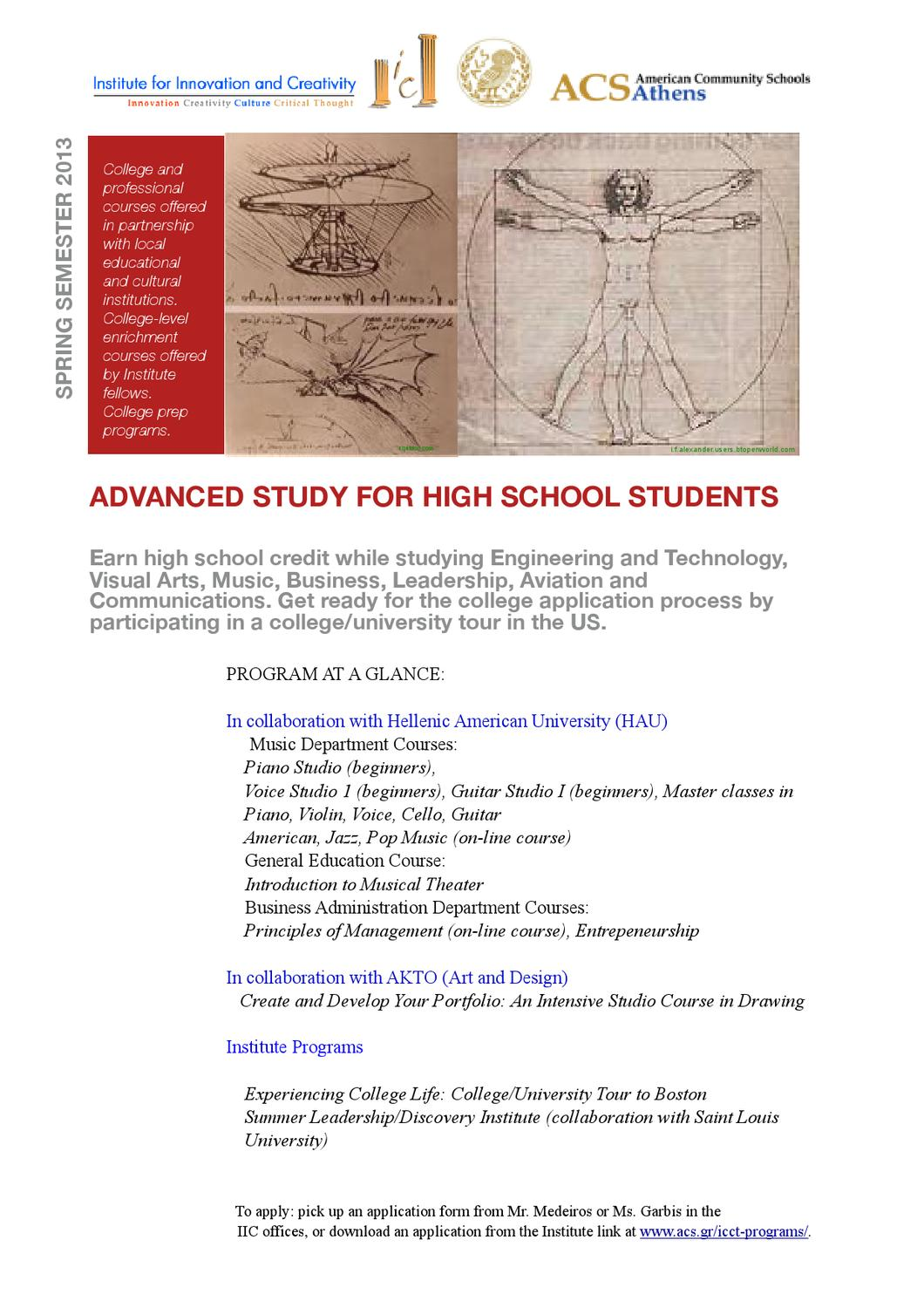 IIC Advanced Study for High School Students, Spring 2013 by