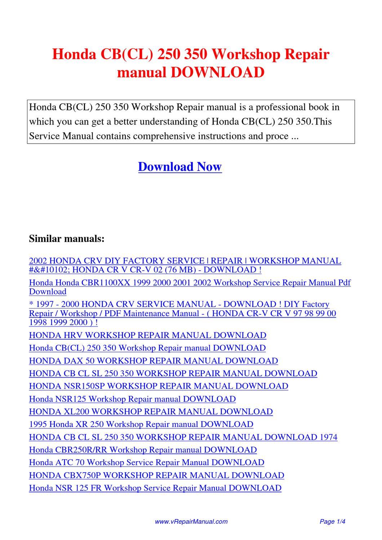 Honda Cb Cl 250 350 Workshop Repair Manual By Huang Luan