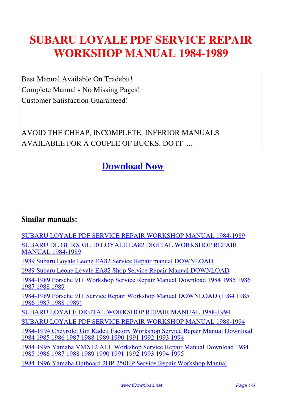 subaru loyale service repair workshop manual 1984 1989 by