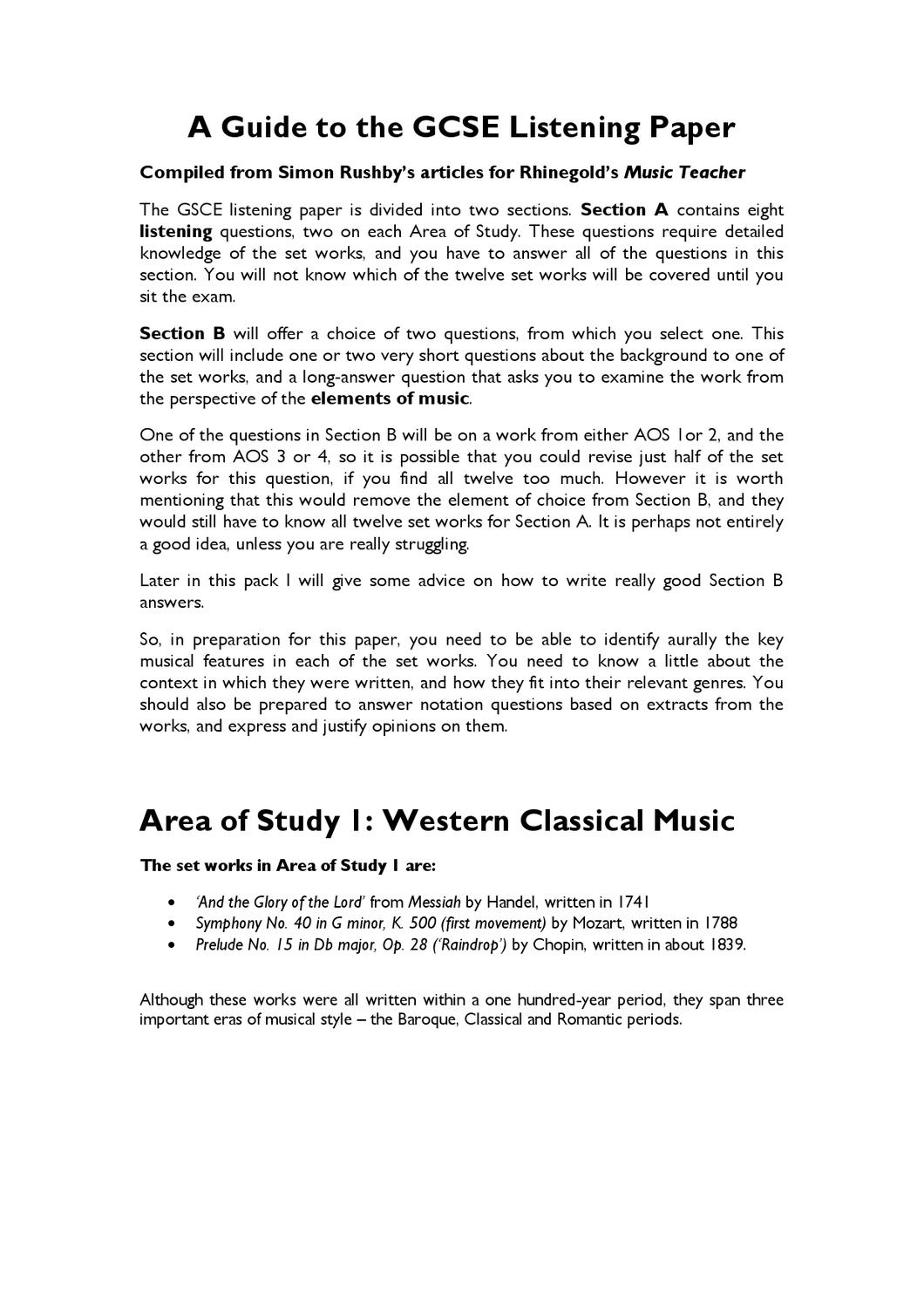 A Guide to Edexcel GCSE Set Works by james palmer - issuu