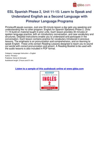 ESL Spanish Phase 2 Unit 11-15 Learn to Speak-Understand