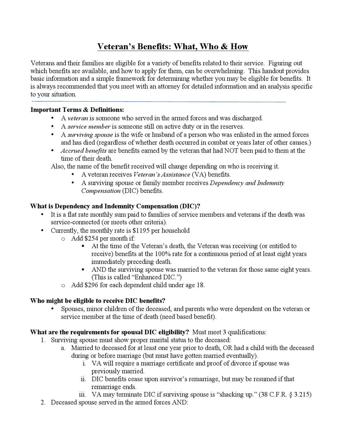 Veteran Assistance & DIC Benefits - FAQs by UT LSS - issuu