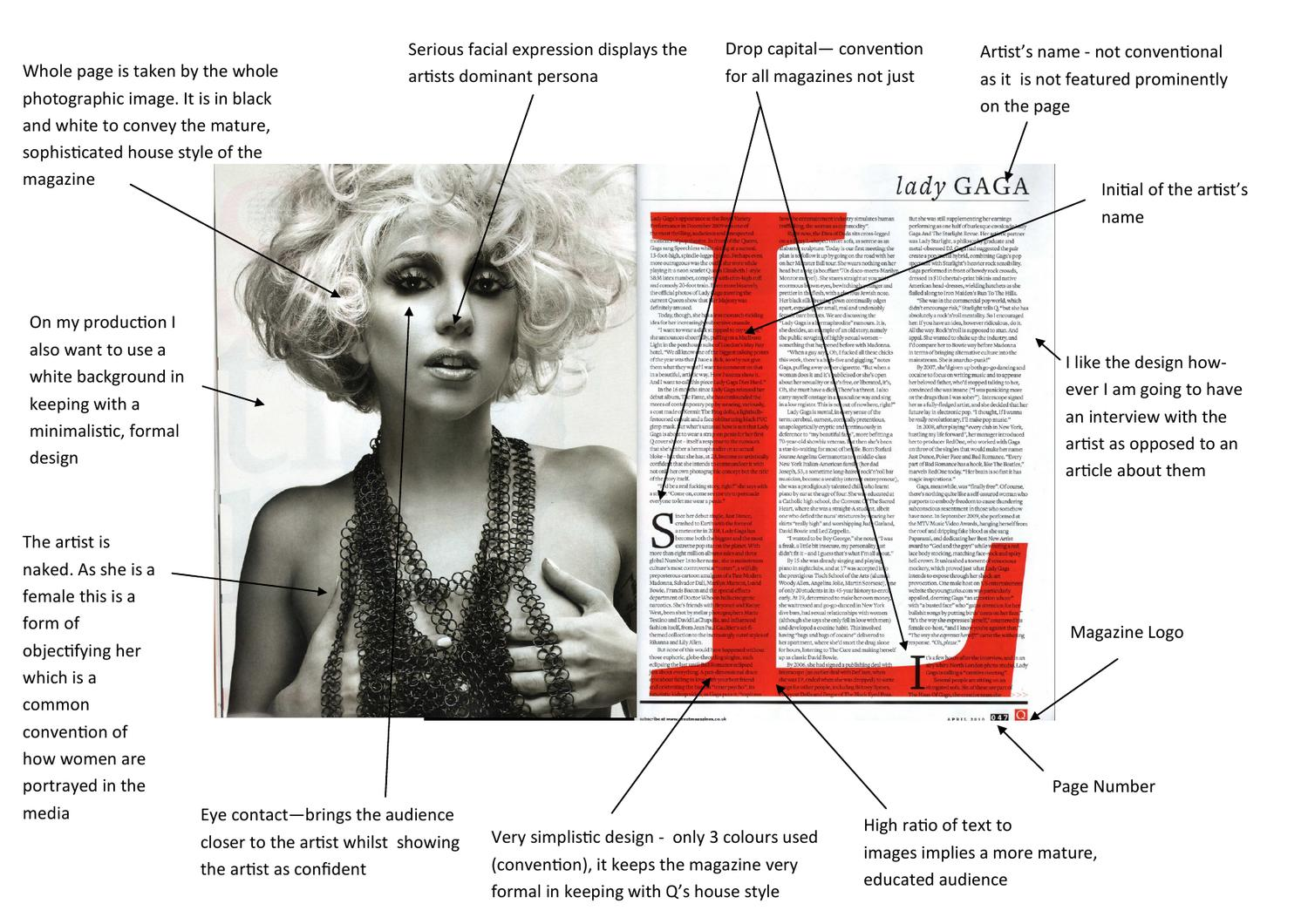 Q Magazine Double Page Spread Analyse by Georgina Ascroft