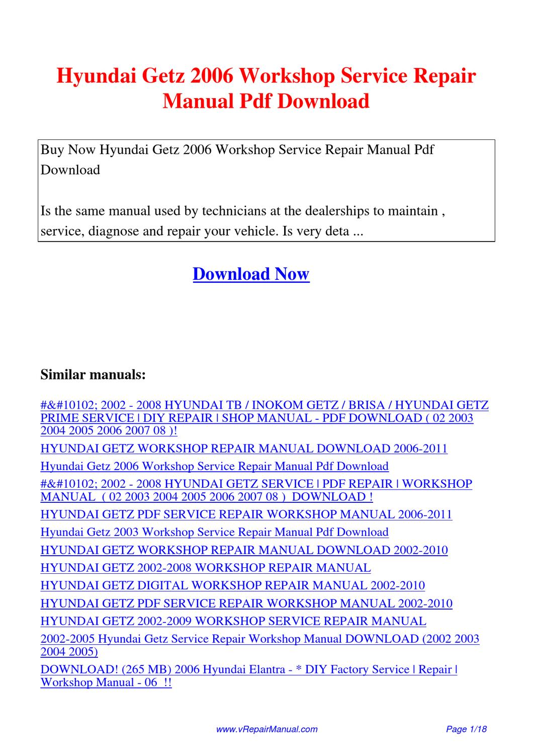 Hyundai getz user manual pdf