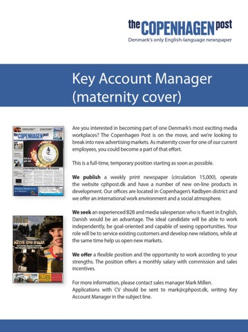 Key Account Manager Job Advertisement By The Copenhagen Post Issuu
