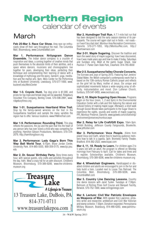 Where & When, Pennsylvania's Travel Guide Spring 2013