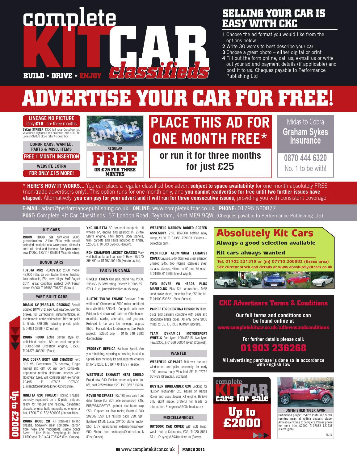 Complete Kit Car Magazine March 2011 By Performance Publishing Ltd