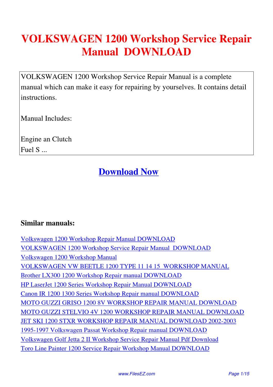 volkswagen 1200 workshop service repair manual by yang. Black Bedroom Furniture Sets. Home Design Ideas