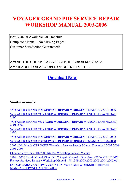 Voyager Grand Service Repair Workshop Manual 2003